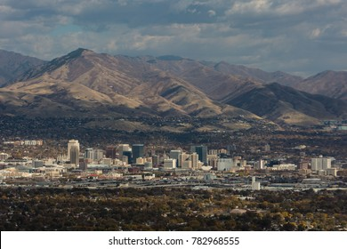 Salt Lake City with the Wasatch Range as a backdrop.