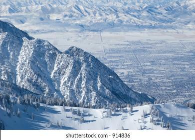 Salt Lake City winter view from the ski resort