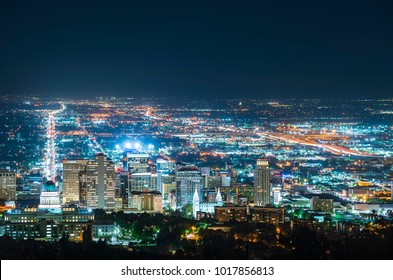 salt lake city,utah,usa. 2017/06/14 : beautiful salt lake city at night with traffic light.