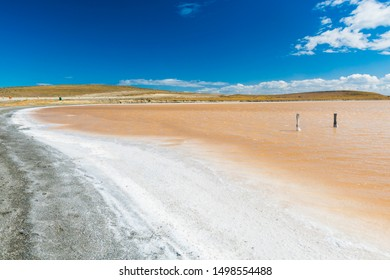Salt lake with crystal coated stones in Tierra del Fuego in Argentina