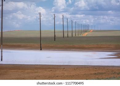 Salt Lake in Kalmykia. Chyornye Zemli (Black Lands) Nature Reserve, Kalmykia region, Russia