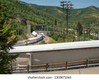 Salt Lake / Park City Olympic Park, Utah, United States, summer 2018 : [ski jumps and bobsleigh in the Olympic park museum]