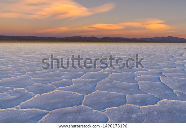 """Salt lake """"Salinas Grandes"""" in Argentina during sunset"""