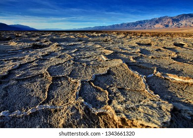 Salt lake with stripes,Badwater, the lowest point in the United States, California's Death Valley National Park