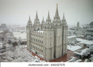 The Salt Lake Temple in Temple Square in Salt Lake City, Utah