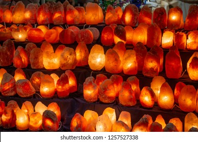 salt lamps illuminated from the inside