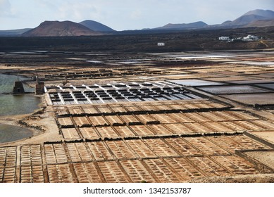 Salt manufacturing. Lanzarote saltworks salinas de Janubio Canary Islands