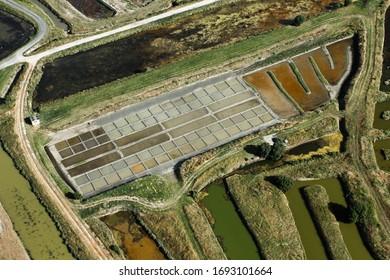 marais salants de l'île d'Oléron vus du ciel, dans le département de Charente-Maritime, dans la région de Nouvelle-Aquitaine, France, Europe