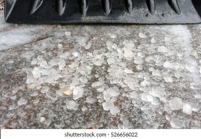Salt melting winter ice