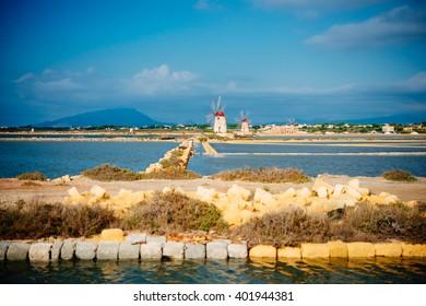 Salt mills are seen in suburbs of Marsala, Sicily, Italy.