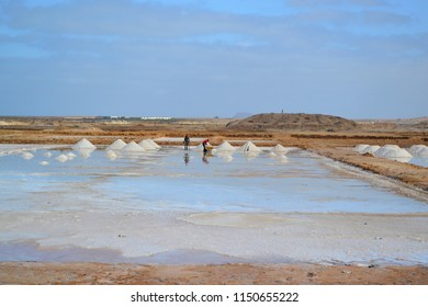 Salt minefields in Cape Verde, Africa