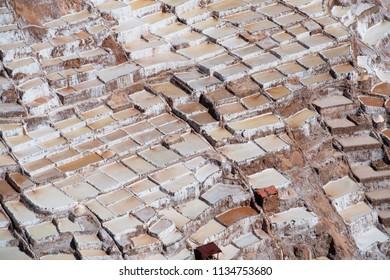 Salt mines of Maras, near Cusco, Peru.