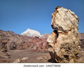 Salt mountain on Hormuz island, Iran near Rainbow valley