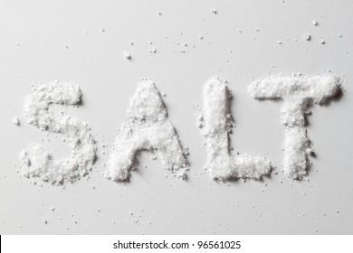Salt on original white background with true shadows