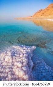 Salt on the shore of the Dead Sea. Jordan landscape