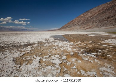 salt pan in death valley national park at high noon