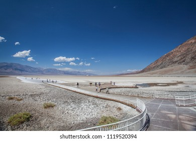 salt pan and visitor walk in death valley national park california nevada