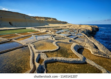 Salt pans near Zebbug town at Gozo island, Malta