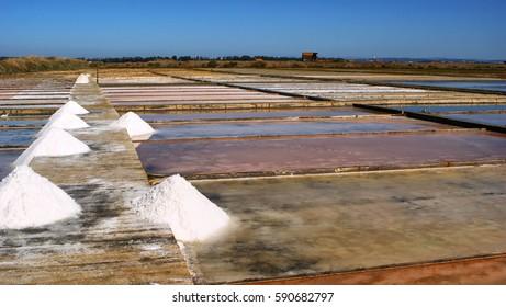 Salt pans on a saline exploration, Figueira da Foz, Portugal