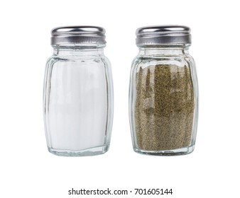 Salt and pepper in glass jars isolated on white background
