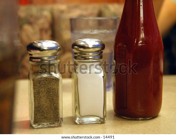 salt, pepper and ketchup