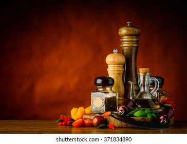 Salt and Pepper mill with herbs and seasoning