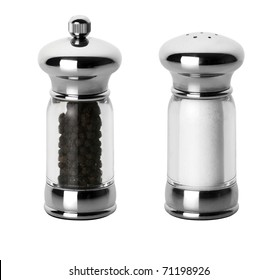 salt and pepper shaker isolated on white with individual clipping paths