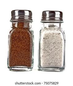 Salt and pepper shaker on a white background