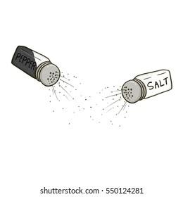 Salt and pepper shakers illustration