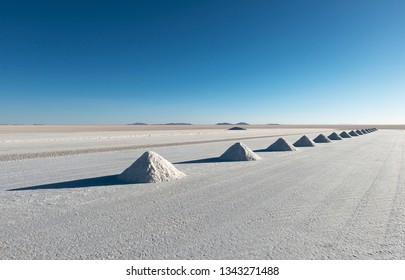 Salt pyramids in the Salt industry town of Colchani located in the Uyuni salt flat or Salar de Uyuni,  Bolivia.