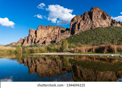 The Salt River and desert mountains near Mesa, Arizona