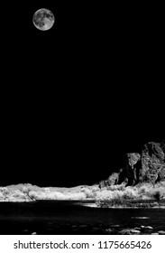 Salt River Infrared monochrome desert moon over the southwestern USA Sonora desert Arizona and mountains