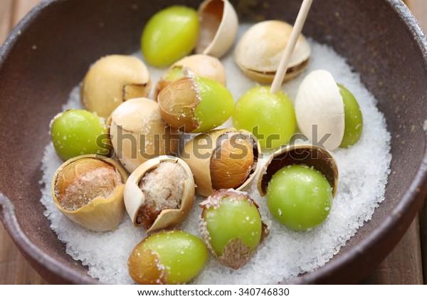 salt roasted ginkgo nuts, japanese food