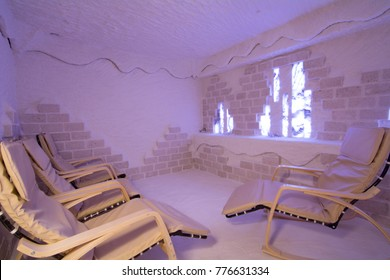 salt room with armchairs in the spa
