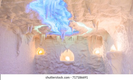Salt room. Halotherapy for treatment of respiratory diseases. Salt cave with multicolored LED back lighting.