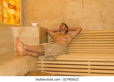 Salt room interior in luxury spa center