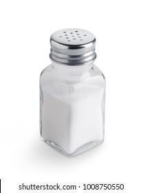 Salzstreuer einzeln auf weißem Hintergrund