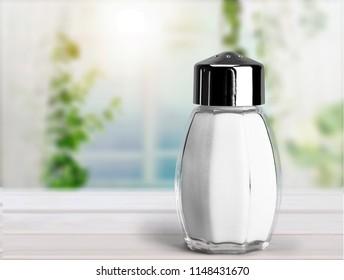Salt Shaker on white desk
