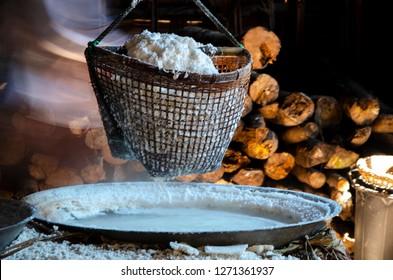salt tradiona production in Nan province, Thaland