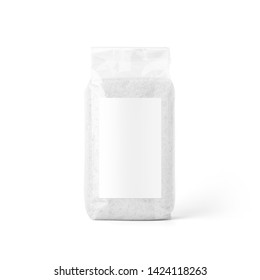 Salt in transparent plastic bag with label isolated on white background. Packaging template mockup collection. Stand-up Front view.