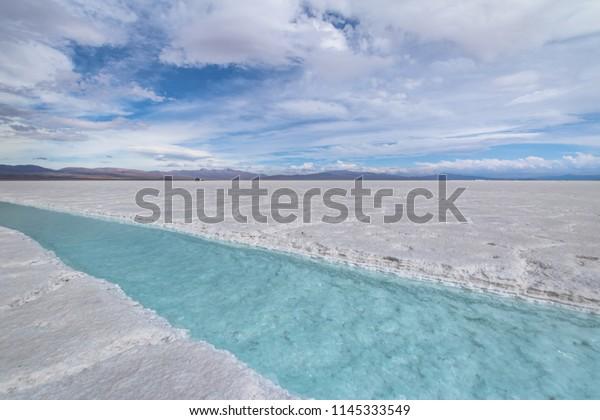 Salt water pool in Salinas Grandes Salt Flat - Jujuy, Argentina