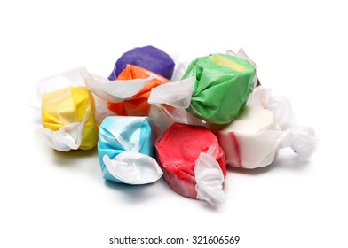 Salt Water Taffy on a White Background