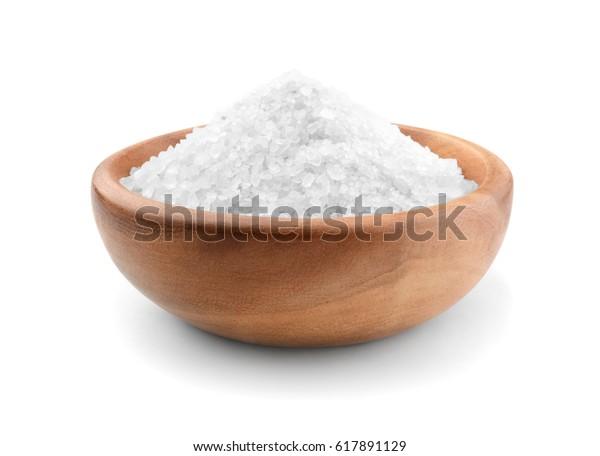 Salt wooden bowl isolated on white