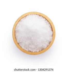 Salt in wooden bowl top view isolated on white background.