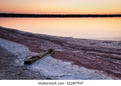 Salt works at sunset. Salt and water creates a powerful image to photograph