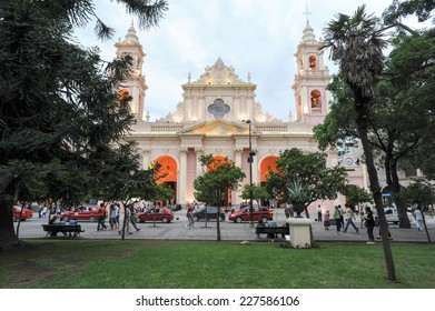 Salta, Argentina - 21 January 2011: People walking in front of the cathedral of Salta on northen Argentina