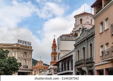 Salta, Argentina - Apr 25, 2018: Downtown Salta with San Francisco Church on background - Salta, Argentina