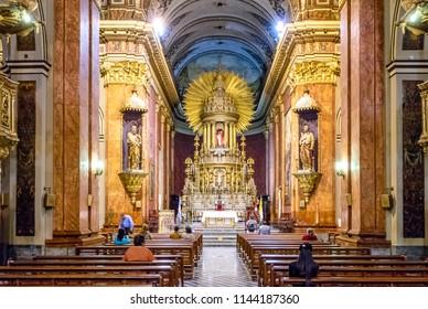 Salta, Argentina - Apr 25, 2018: Cathedral Basilica of Salta Interior - Salta, Argentina