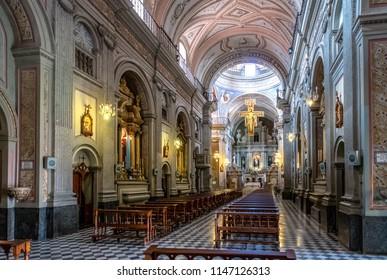 Salta, Argentina - Apr 25, 2018: San Francisco Church Interior - Salta, Argentina