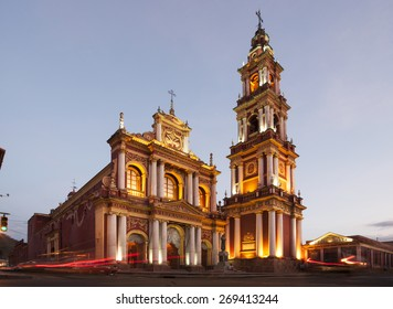 SALTA, ARGENTINA - APRIL 10th 2015:  Iglesia San Francisco is a towering church and is one of Salta's most famous landmarks. The San Francisco Church was made a historical monument in 1941.